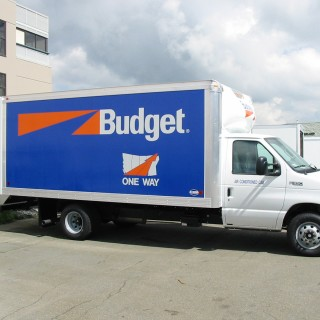 One of 120 Budget trucks that we produced graphics for last year. The blue background is removable vinyl so graphics can be easily removed after 2 years.