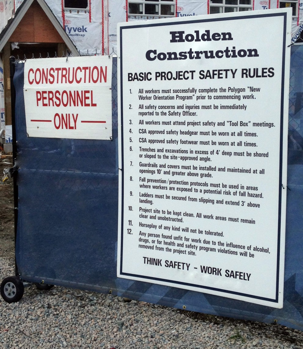 Coroplast and various other materials are used  to make inexpensive compliance signs  for construction sites.