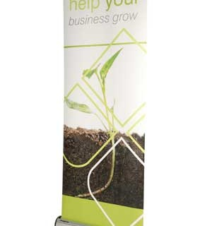 Retractable banner stands with custom printed graphics