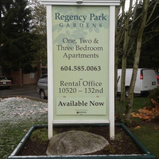 4' x 8' Framed sign with vacancy info.