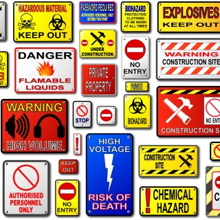 A few of the many signs and decals Total Image has made. We have standard templates for these signs and many more.
