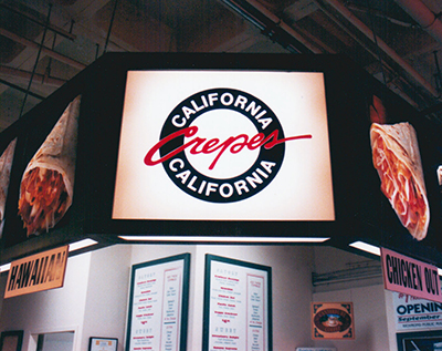 Illuminated menu signs for food court  in a Surrey mall.